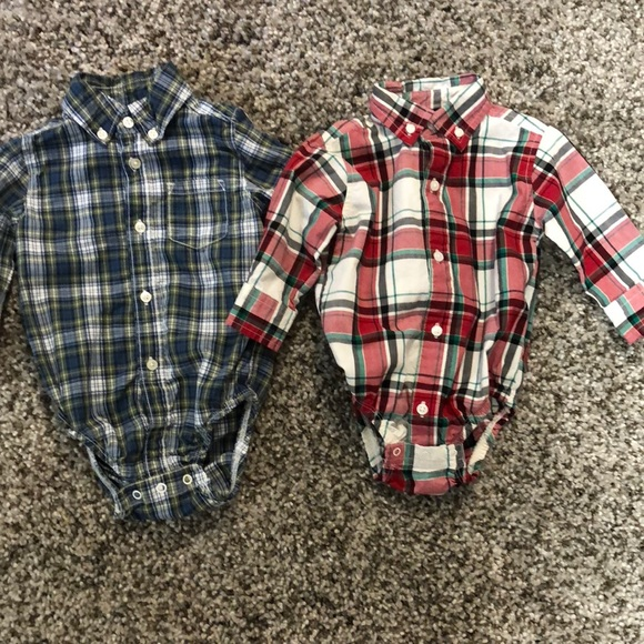 Other - 2 Button Plaid Long Sleeve Onesies